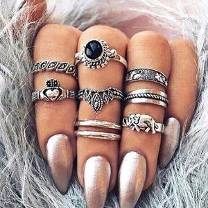 Silver Black Boho Rings